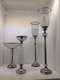Rental store for LARGE CRACKLE GLASS HURRICANE LAMP in Kansas City KS